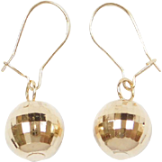 Vintage 14k Gold Disco Ball Earrings