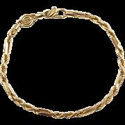"""Vintage 14k Gold Milano Rope Bracelet ~ 7 1/4"""""""