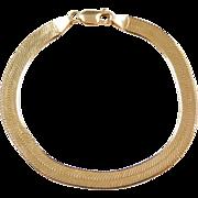 "Vintage 14k Gold Herringbone Bracelet ~ 7 3/4"""
