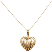 "Vintage 14k Gold Heart Necklace ~ 20"" ~ 1.2 Grams"