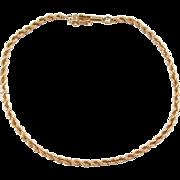 """Vintage 14k Gold Rope Bracelet ~ 7 1/4"""""""