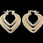 Vintage 14k Gold Heart Hoop Earrings