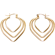 Vintage 14k Gold Heart Hoop Earrings