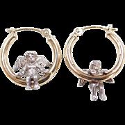 Vintage Sterling Silver and 14k Gold Angel Hoop Earrings