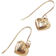 Vintage 14k Gold Small Heart Earrings