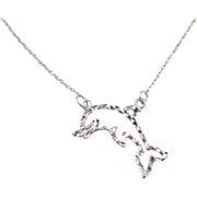 Vintage 10k White Gold Dolphin Necklace ~ 17""