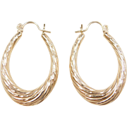 Vintage 14k Gold Oval Hoop Earrings