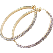 Vintage 14k Gold Crystal Hoop Earrings