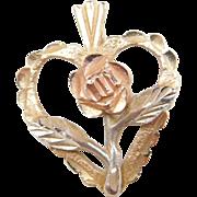 Vintage 14k Gold Tri-Color Flower / Rose Heart Charm