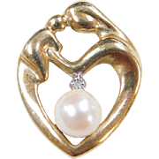 Vintage 10k Gold Diamond and Cultured Pearl Mother and Child Heart Pendant