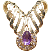 Vintage 14k Gold Amethyst and Diamond Slide Pendant