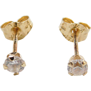 Vintage 14k Gold Faux Diamond Stud Earrings