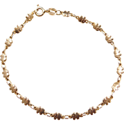 "Vintage 14k Gold Elephant Bracelet ~ 7"""