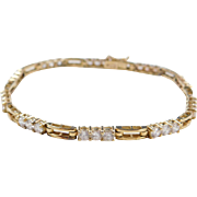 Vintage 14k Gold Faux Diamond Bracelet ~ 7""