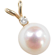Vintage 14k Gold Diamond and Cultured Pearl Pendant