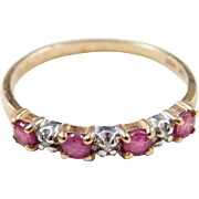 Vintage 10k Gold Two-Tone Ruby and Diamond Ring