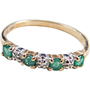 Vintage 10k Gold Two-Tone Emerald and Diamond Ring