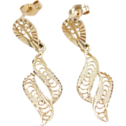 Vintage 14k Gold Filigree Earrings