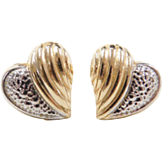 Vintage 14k Gold Two-Tone Heart Stud Earrings
