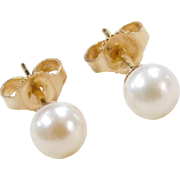 Vintage 14k Gold Cultured Pearl Stud Earring s