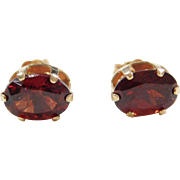 Vintage 14k Gold Garnet Stud Earrings