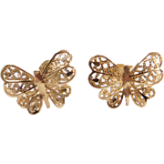 Vintage 14k Gold Filigree Butterfly Stud Earrings