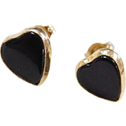 Vintage 14k Gold Onyx Heart Stud Earrings