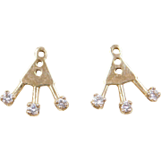 Vintage 14k Gold Diamond Earring Jackets