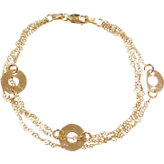 Vintage 14k Gold Heart and Circle Link Bracelet ~ 7""
