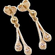 Vintage 14k Gold Diamond Earrings