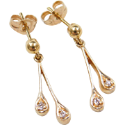 Vintage 14k Gold Diamond Earrings