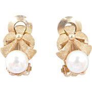 Vintage 14k Gold Cultured Pearl Clip-On Earrings