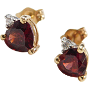 Vintage 14k Gold Two-Tone Garnet Heart and Diamond Stud Earrings