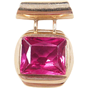 Vintage 14k Gold Created Ruby Pendant