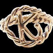 Vintage 14k Gold Letter K Ring