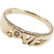 Vintage 14k Gold Diamond Love Ring