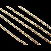 "Vintage 14k Gold Diamond Cut Rope Chain ~ 20"" ~ 6.1 Grams"
