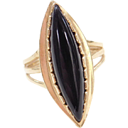 Vintage 14k Gold Onyx Marquise Ring