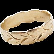 Vintage 14k Gold Leaf Band Ring