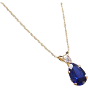 """Vintage 14k Gold Created Sapphire and Faux Diamond Necklace ~ 18"""""""