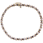 Vintage 10k Gold Two-Tone Sapphire and Diamond Bracelet ~ 7""