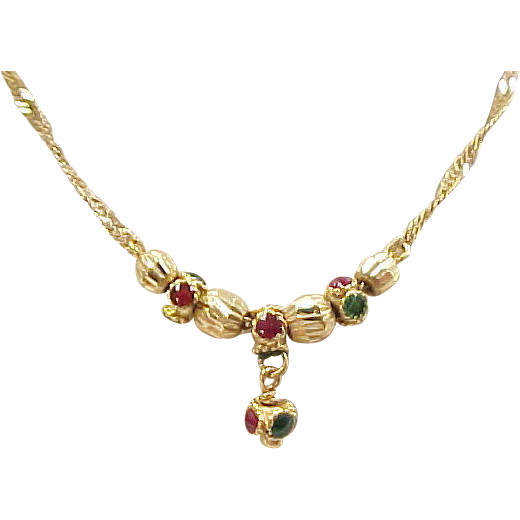 Vintage 22k gold necklace with red and green enamel sold for 22k gold jewelry usa