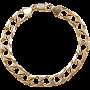 """Vintage 14k Gold Gents Heavy Curb Link Bracelet ~ 8 1/4"""" ~ 34.7 Grams"""