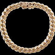 """Vintage 14k Gold Gents Curb Link Bracelet ~ 8 1/2"""" ~ 32.3 Grams"""