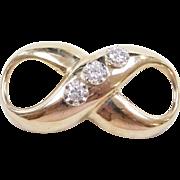 Vintage 14k Gold Two-Tone Diamond Infinity Pendant