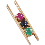 Vintage 14k Gold Ruby, Emerald and Sapphire Pendant
