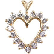 Vintage 14k Gold Diamond Heart Pendant