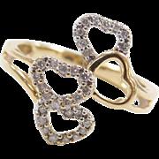 Vintage 14k Gold Two-Tone Diamond Heart Ring
