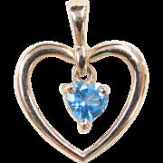 Vintage 14k Gold Blue Topaz Heart Pendant