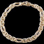 """Vintage 14k Gold Gents Flat Marine Anchor Figaro Link Bracelet ~ 9 1/4"""""""